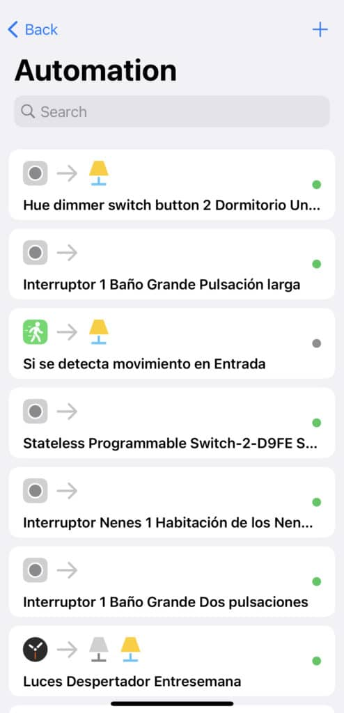 Automatizaciones en la app Home+