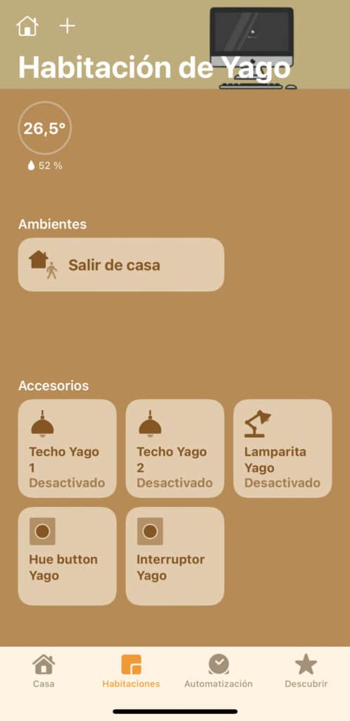 Habitación de Yago en la app Casa