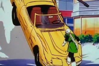 El Gran Saiyaman deteniendo un Chevrolet Corvette
