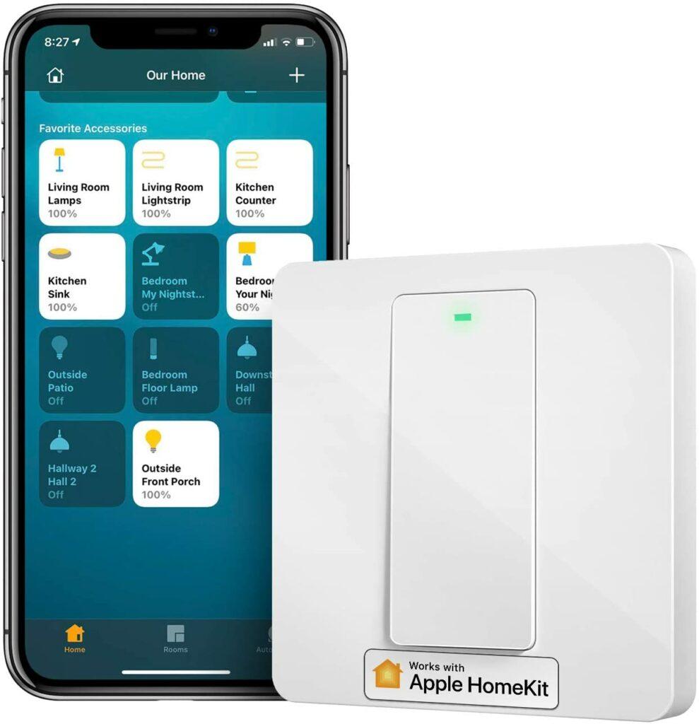Interruptor inteligente Meross con neutro compatible con Apple HomeKit