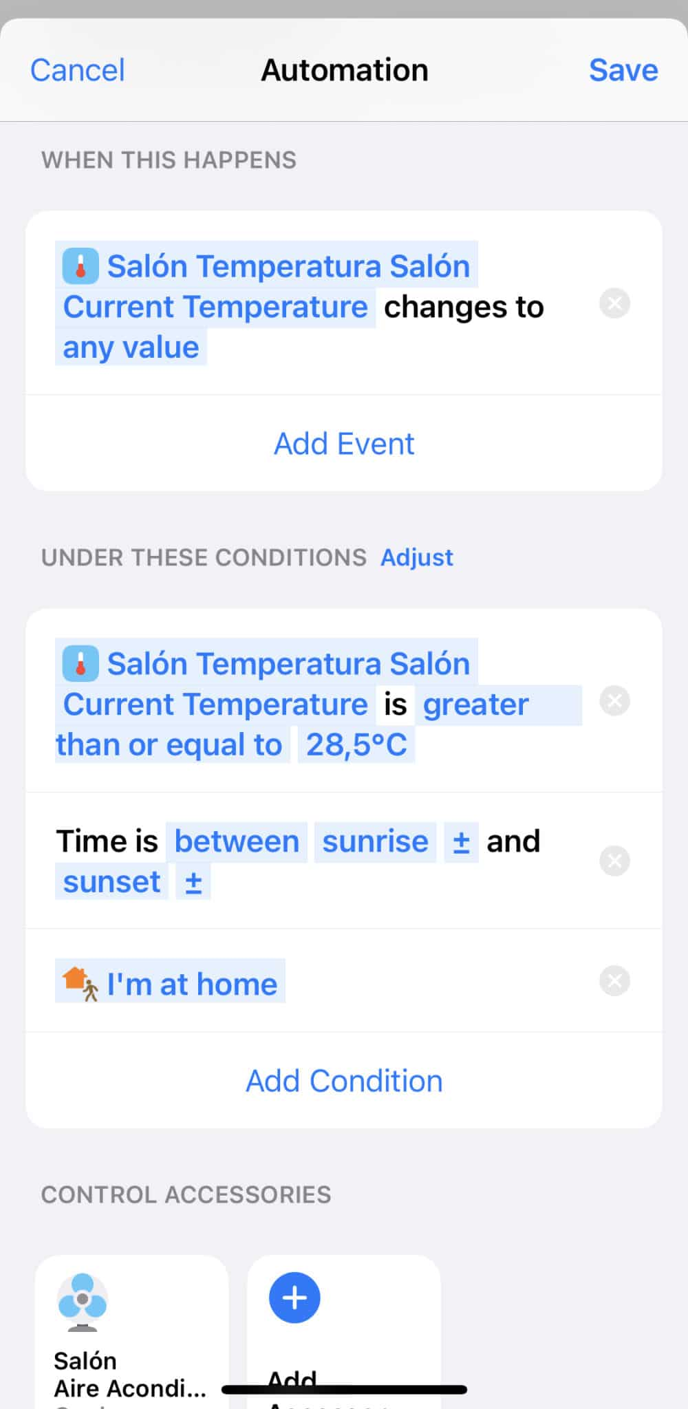 Acción con Sensor Temperatura Aqara