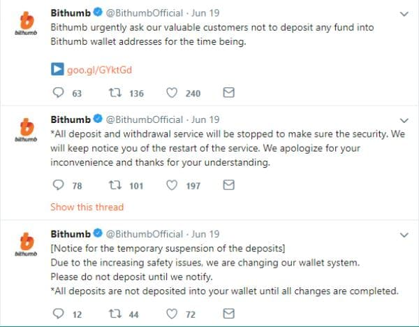Tweets de Bithumb informando de la incidencia