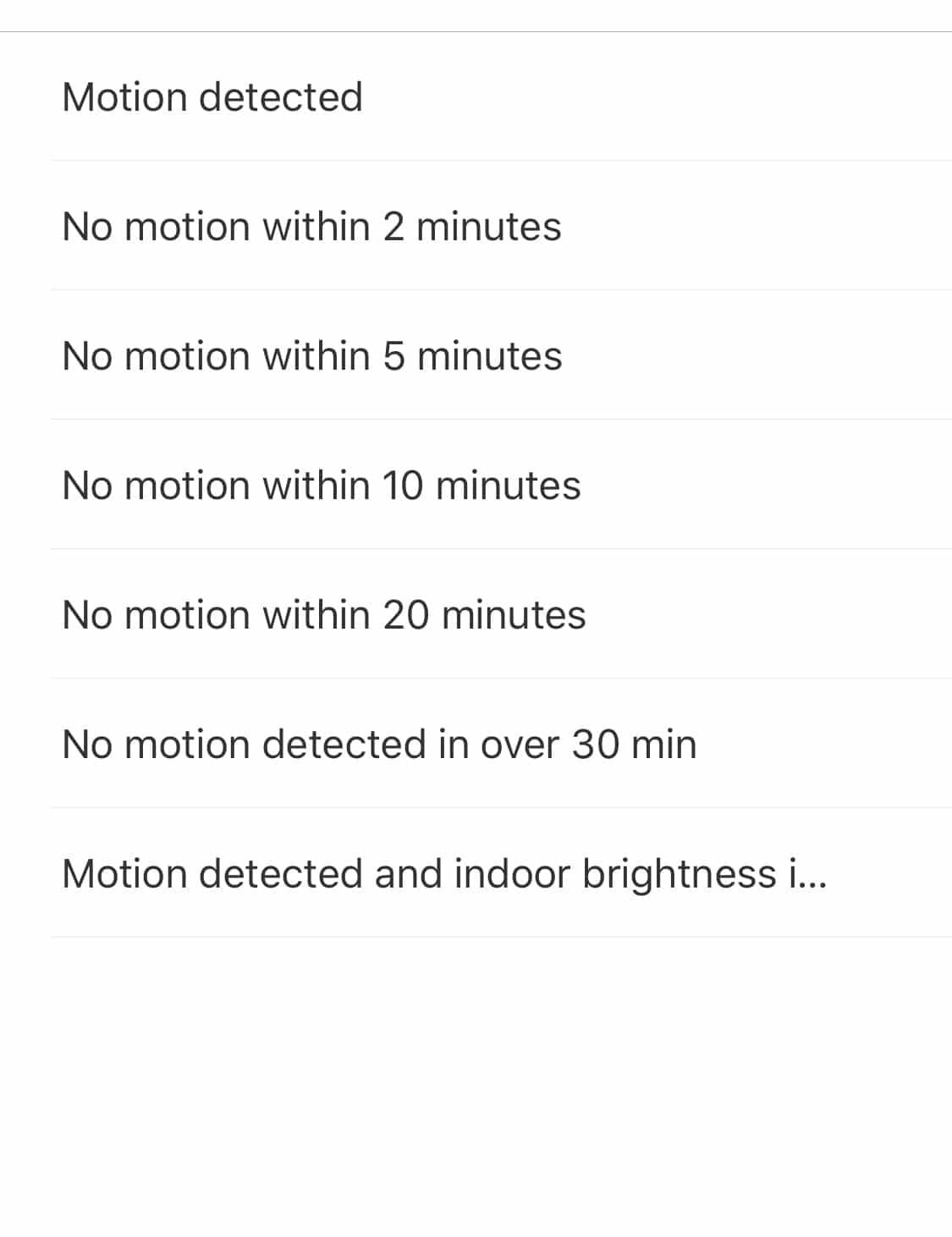 Acciones posibles en Mi Home para Aqara Motion Sensor