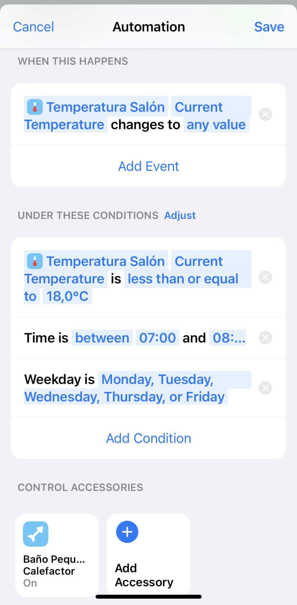 Calefactor con termómetro de Aqara