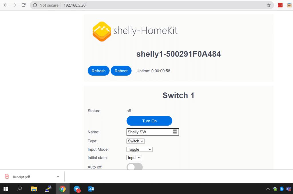 Shelly 1 compatible con HomeKit de Apple