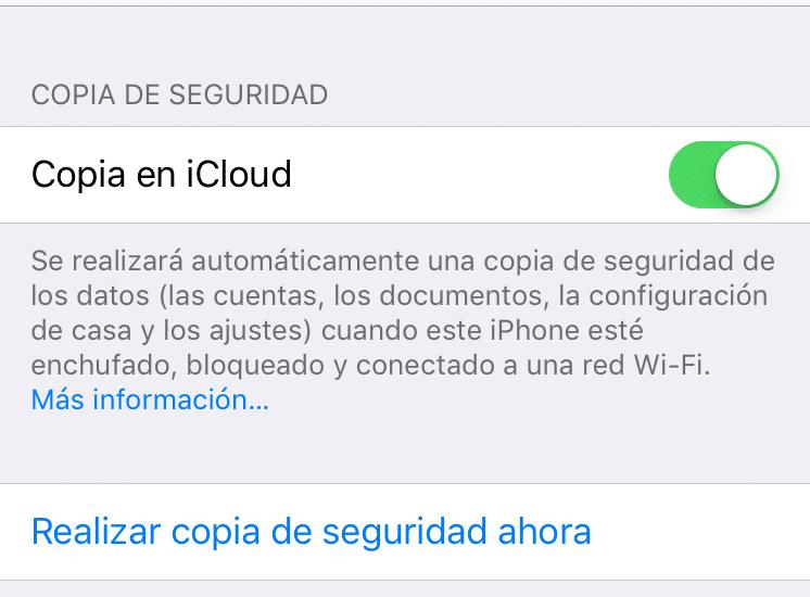 Cómo hacer copia de Seguridad de los datos del teléfono móvil con iCloud