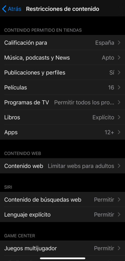 Restricciones de contenidos en iOS