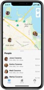 Ubicación de los miembros de En Familia en iOS