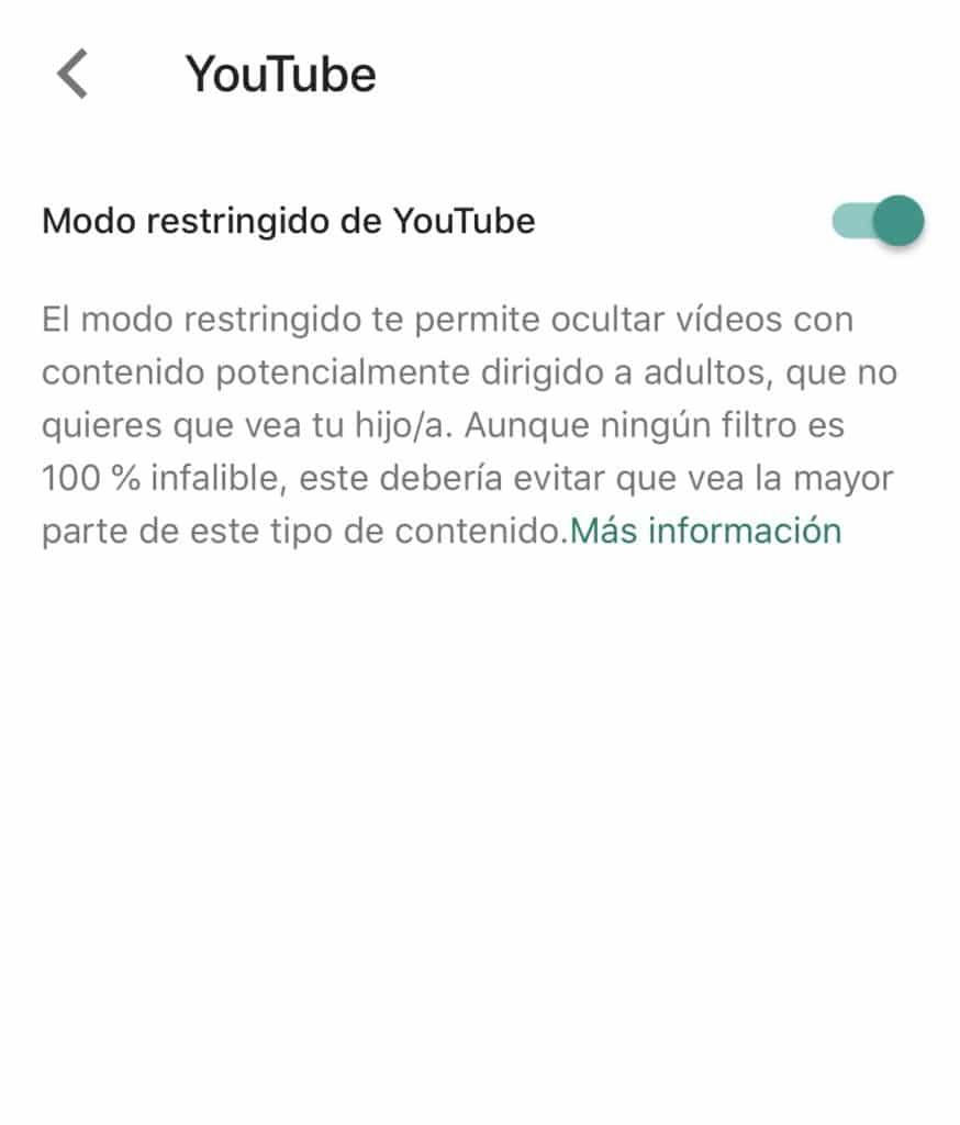 Restricciones de contenido de YouTube en Family Link de Google