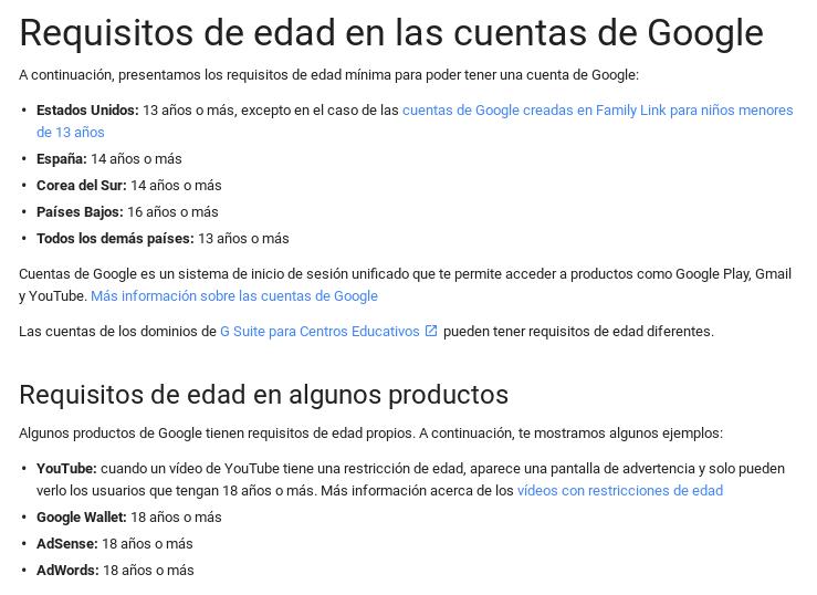 Política de cuentas de Google