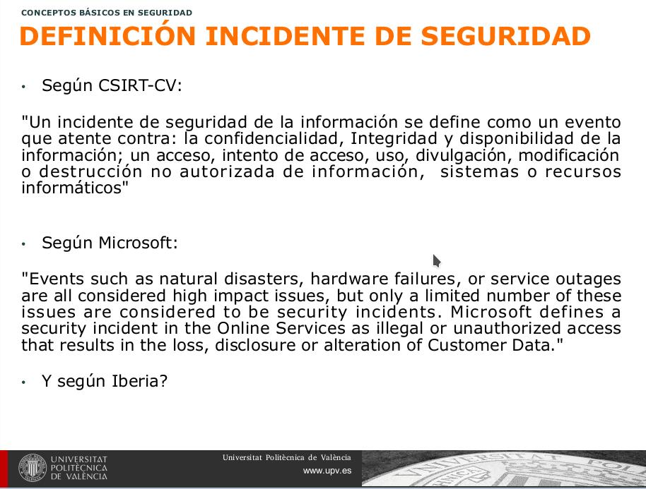 Definición de incidente de Seguridad