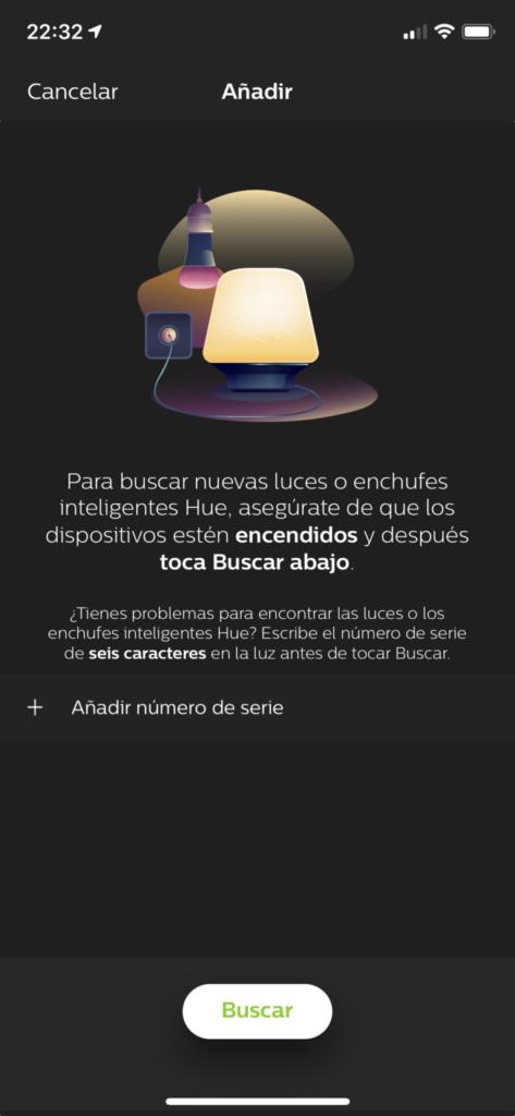 Buscar nuevo dispositivo en la App Philips Hue