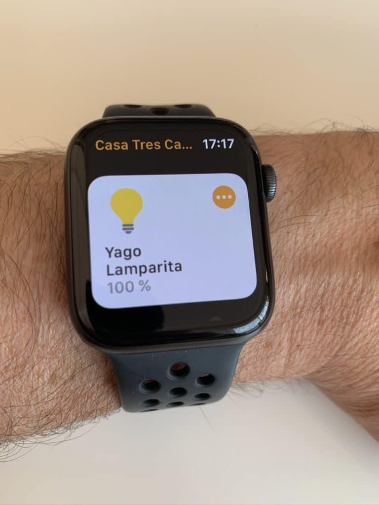 Subiendo el brillo de una bombilla desde la app Casa de Apple en el Apple Watch