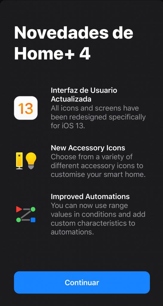 Novedades en Home+4 en iOS13