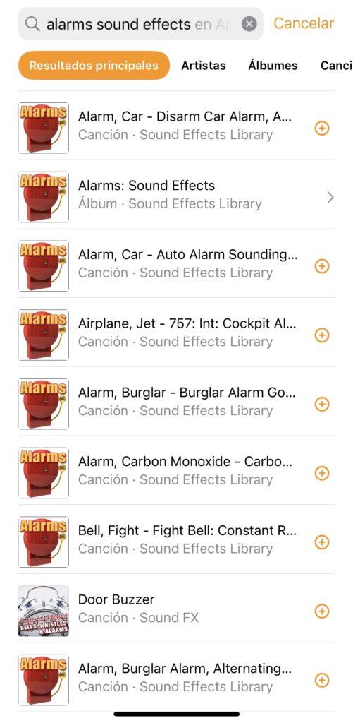 Álbum de sonidos y efectos en Apple Music