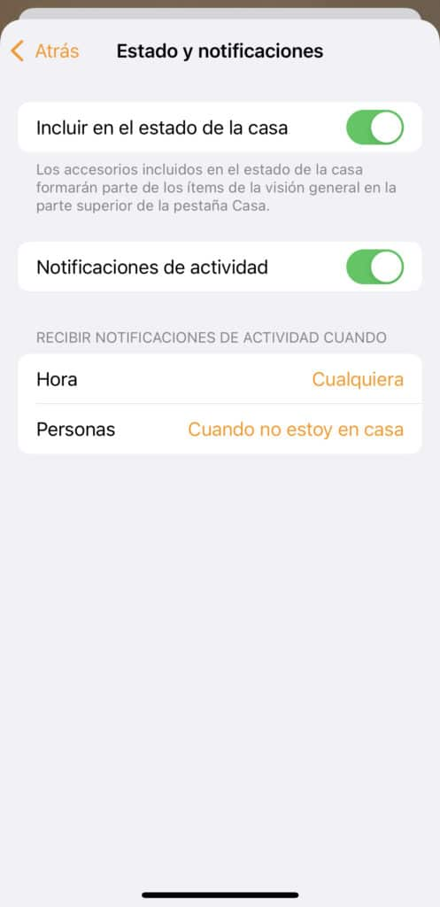 Condición de la notificación del sensor