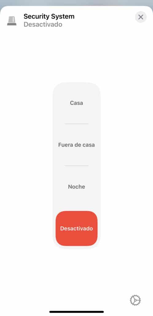 Modos de la alarma del bridge de Aqara en la app Casa