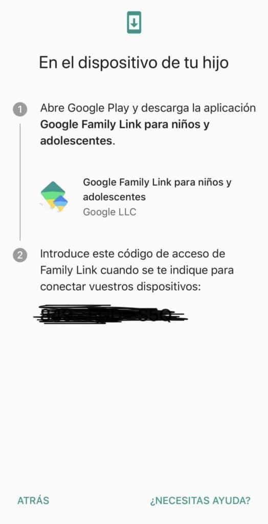 Código para asociar el dispositivo a la familia
