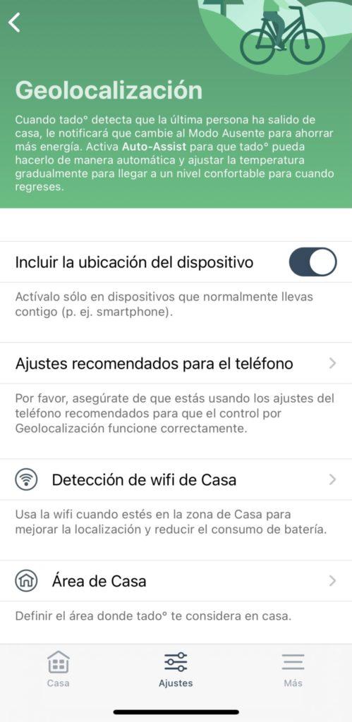 Geolocalización en Tado v3+ Wifi