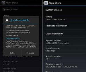 Actualización de Android disponible