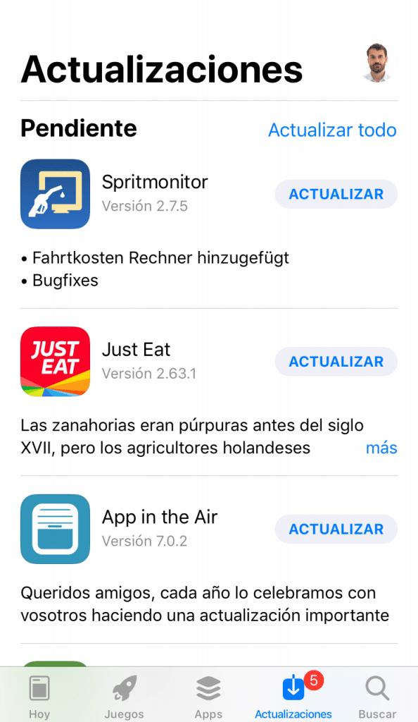 Actualización de las aplicaciones