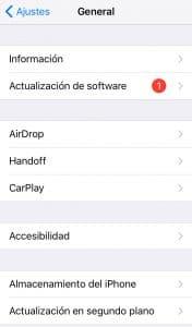 Notificación de actualización disponible en iOS
