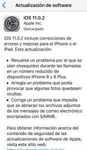 Actualización del sistema operativo iOS