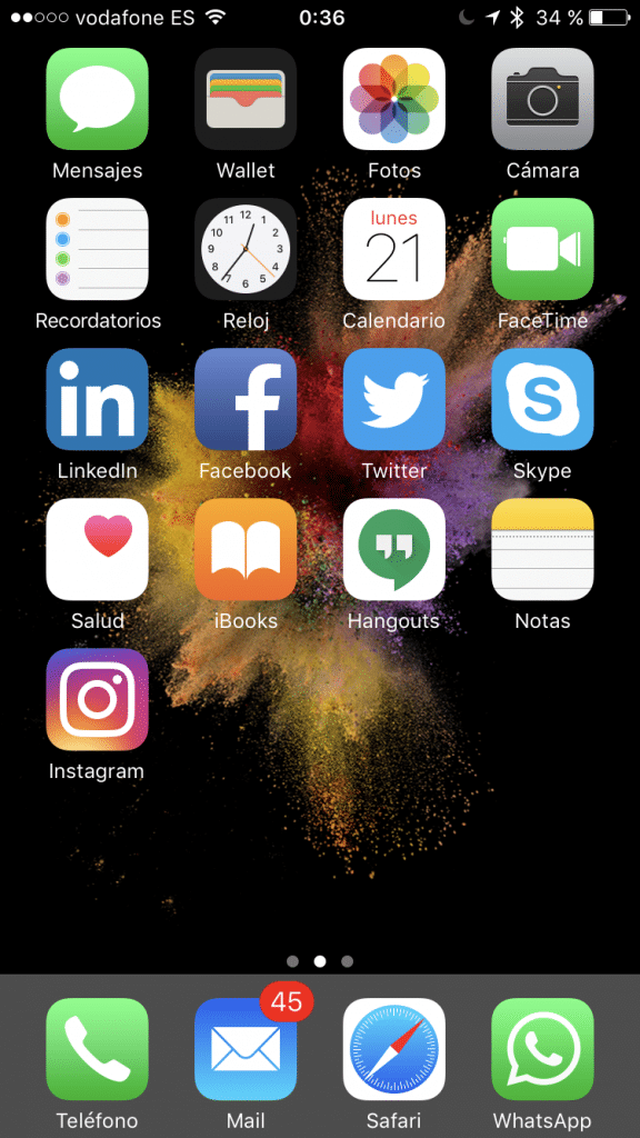 Home screen en iOS