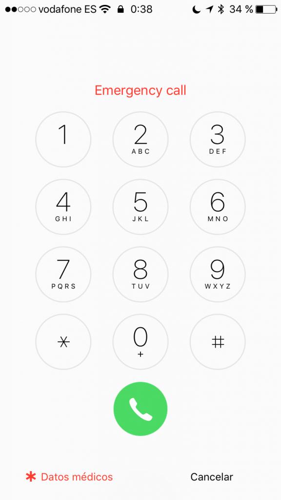 Llamada de Emergencia en iOS