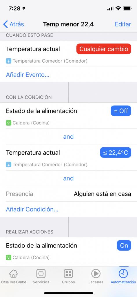 Regla de Temperatura en la app Home 3