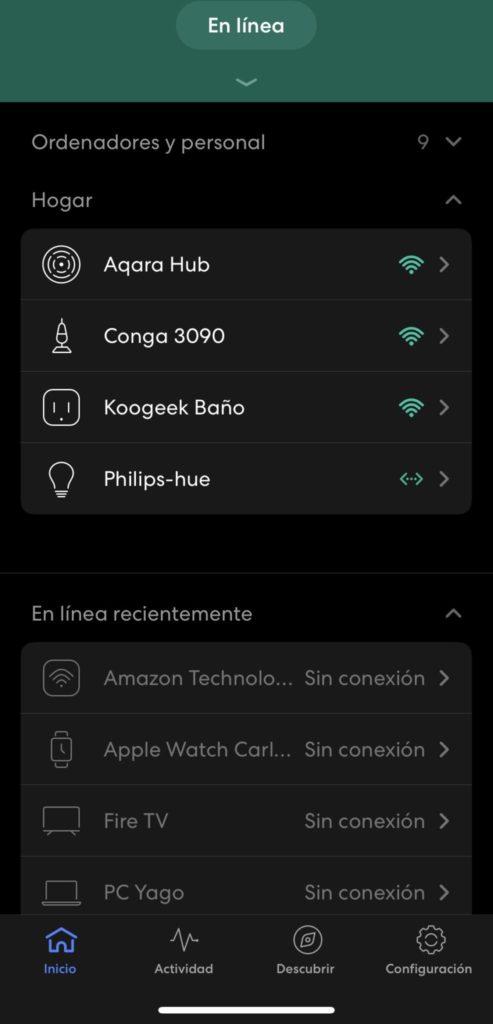 Dispositivos IoT detectados en la app de eero