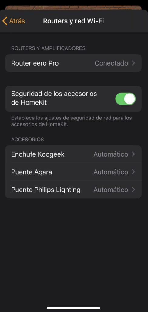Dispositivos para establecer un perfil de seguridad de HomeKit