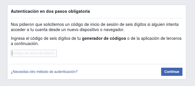 Doble Factor de Autenticacion en Facebook