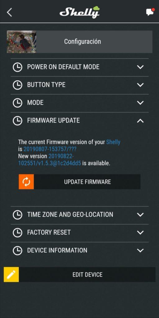 Actualización de firmware en Shelly 2.5